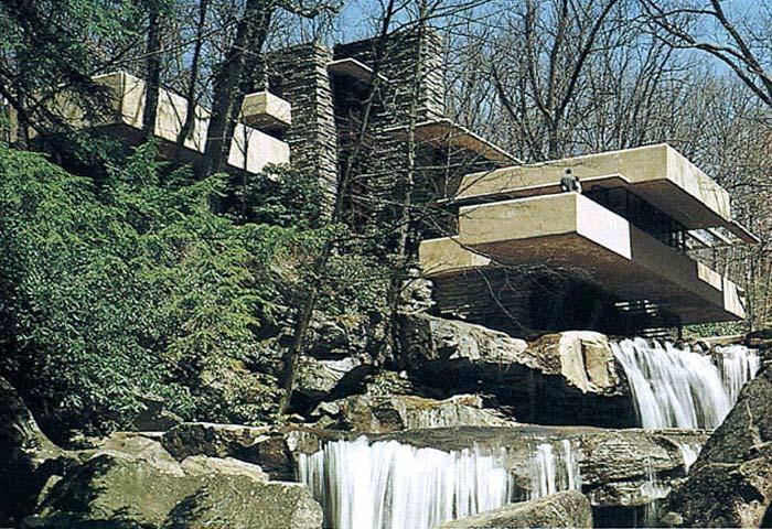 Вилла Кауфмана (Дом над водопадом)  Ф.Л.Райт  1936г.  Бир-Ран, Коннелсвил, Пенсильвания